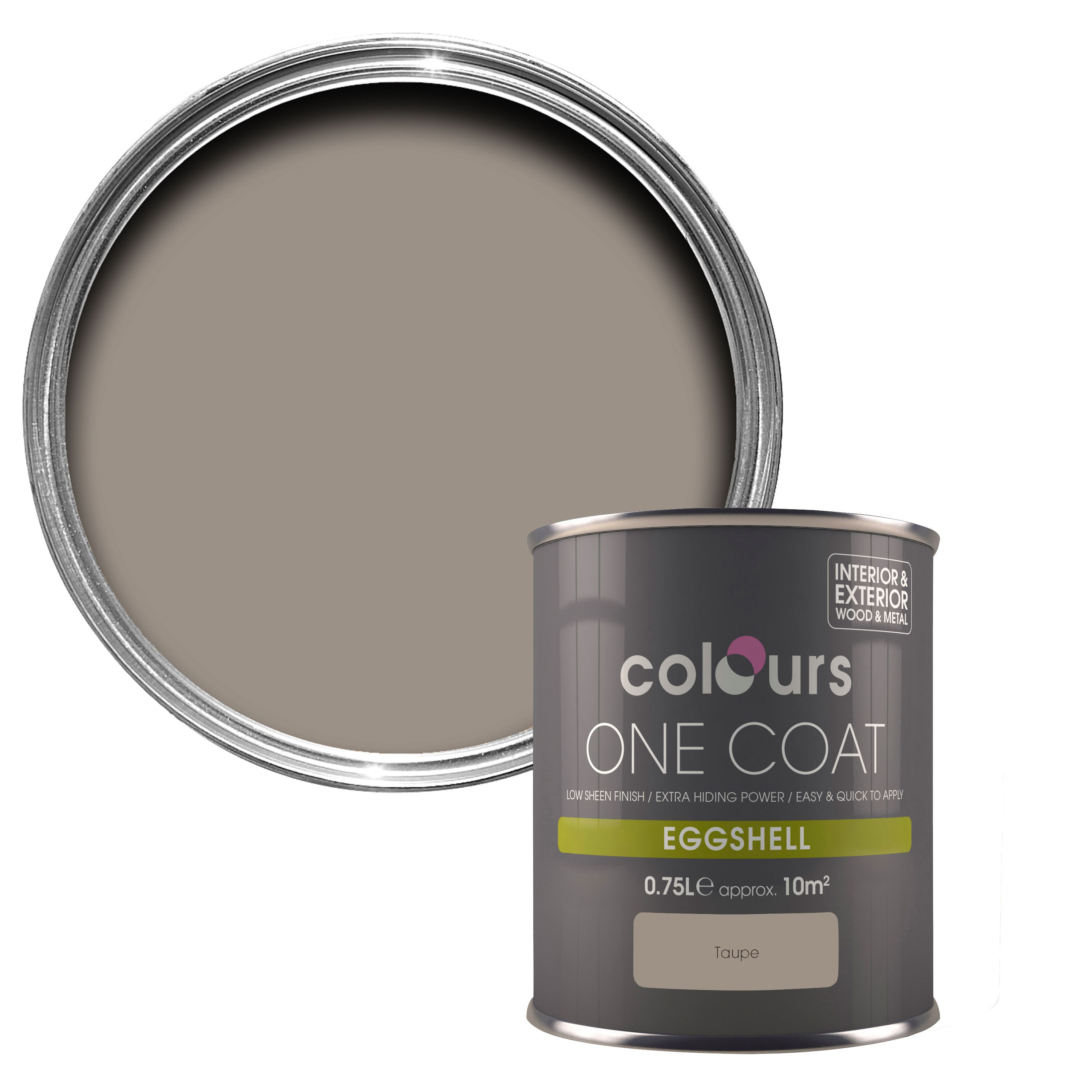 Colours One Coat Taupe Eggshell Wood Metal Paint 750 Ml Departments Diy At B Q