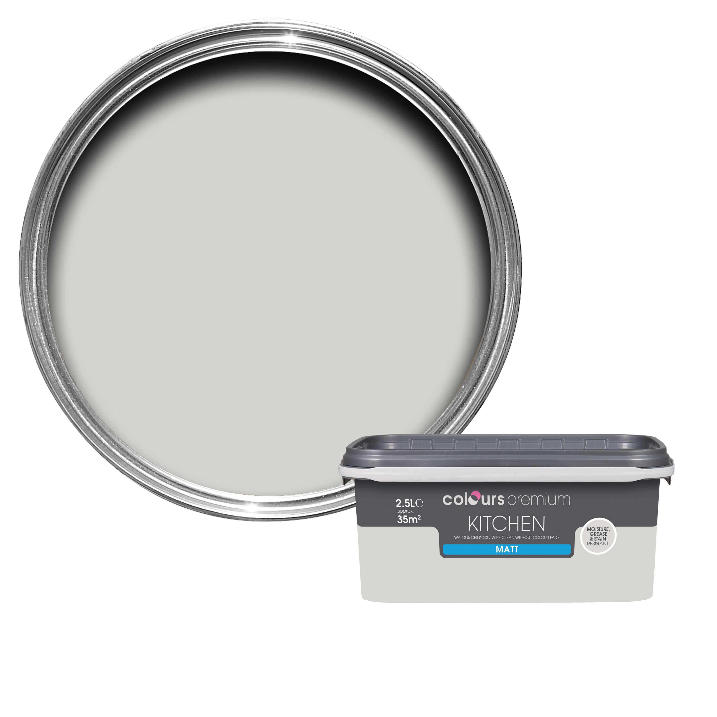 B q grey matt emulsion paint 2 5l departments diy at b q for B q bathroom lights
