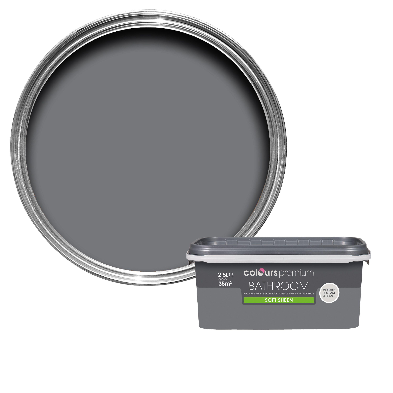 Colours Bathroom Grey Slate Soft Sheen Emulsion Paint 2 5l