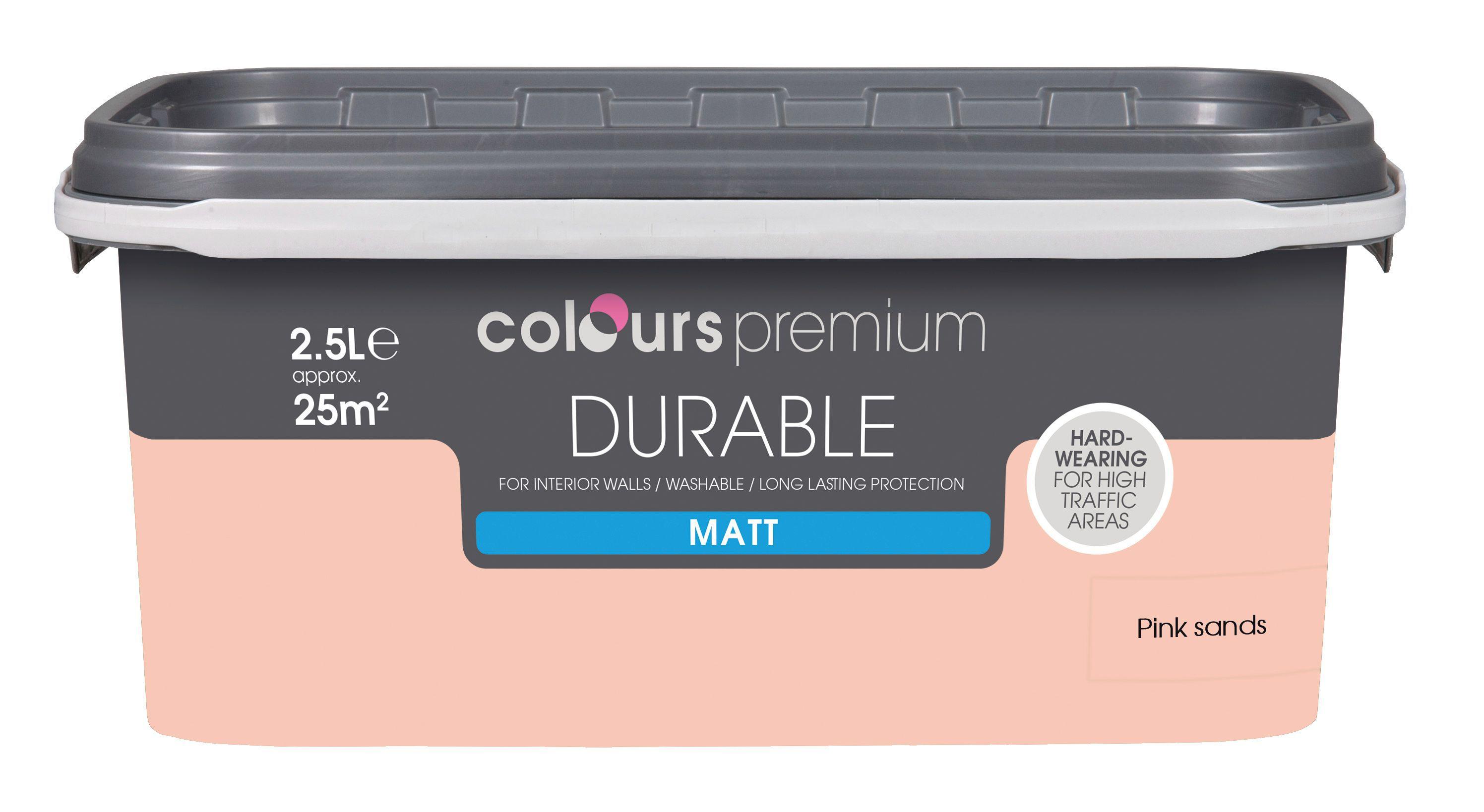 Colours Durable Pink Sands Matt Emulsion Paint 2.5l