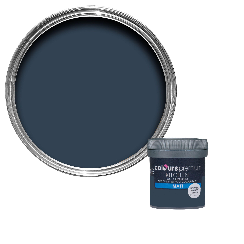 Colours Kitchen Deep Blue Sea <b>Matt</b> Emulsion Paint 0.05L ...