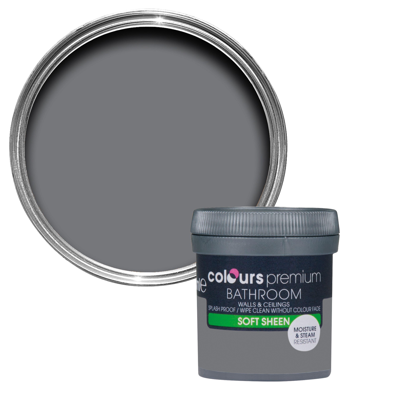 Colours Bathroom Grey Slate Soft Sheen Emulsion Paint 0.05l Tester Pot