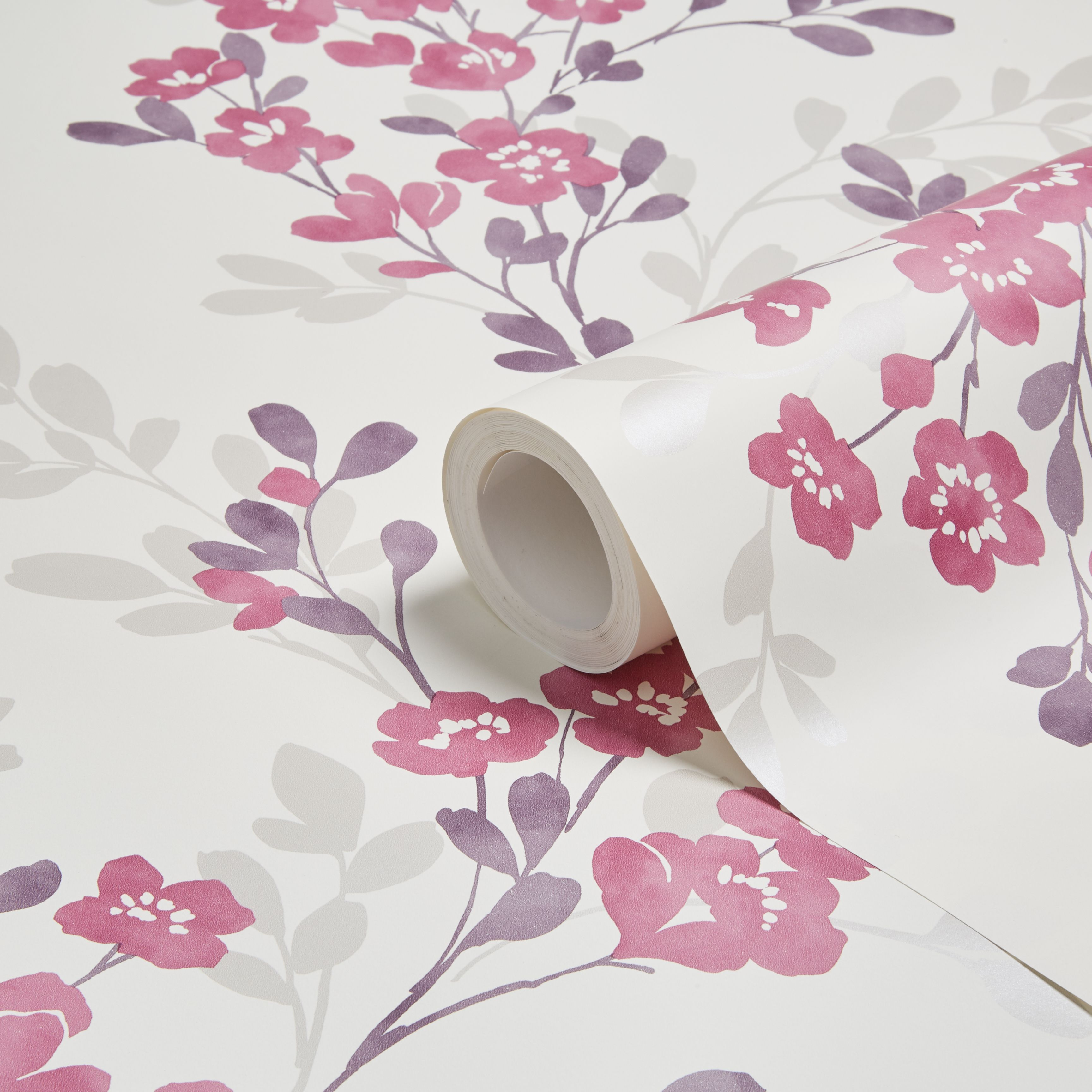 Colours Clara Soft Plum Floral Mica Wallpaper