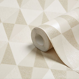 Colours Diamonds Taupe Geometric Glitter Effect Wallpaper