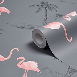 Colours Charcoal & Pink Flamingo Mica Wallpaper
