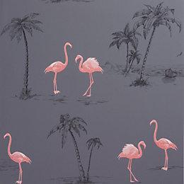 Colours Charcoal & Pink Flamingo Mica Wallpaper