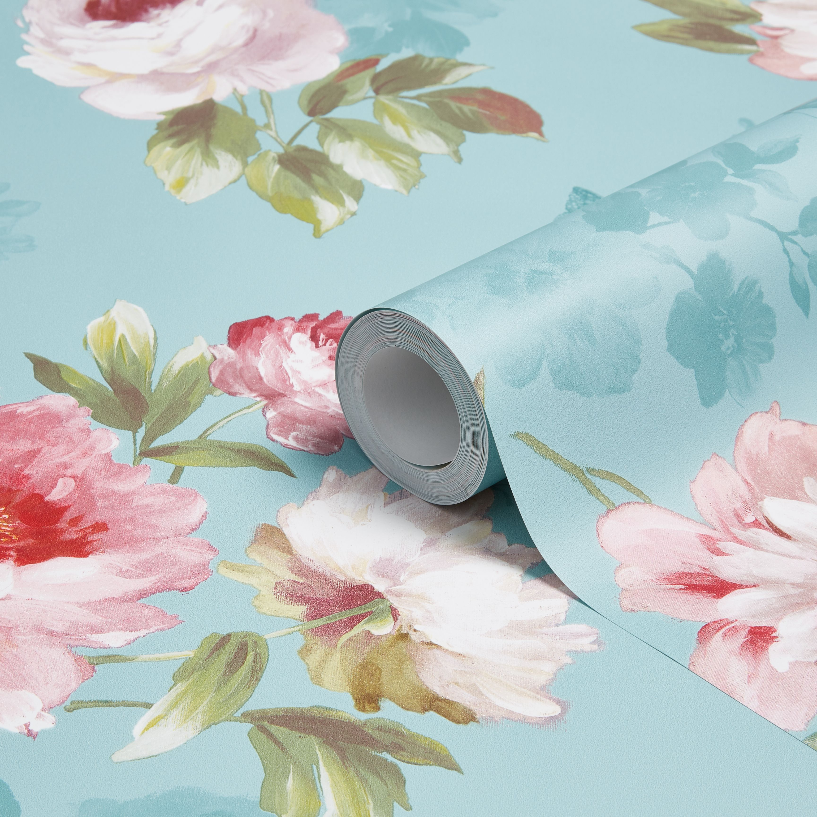 Colours Nina Duck Egg & Pink Floral Butterflies Mica Wallpaper
