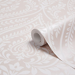 Colours Maya Blush Damask Mica Wallpaper