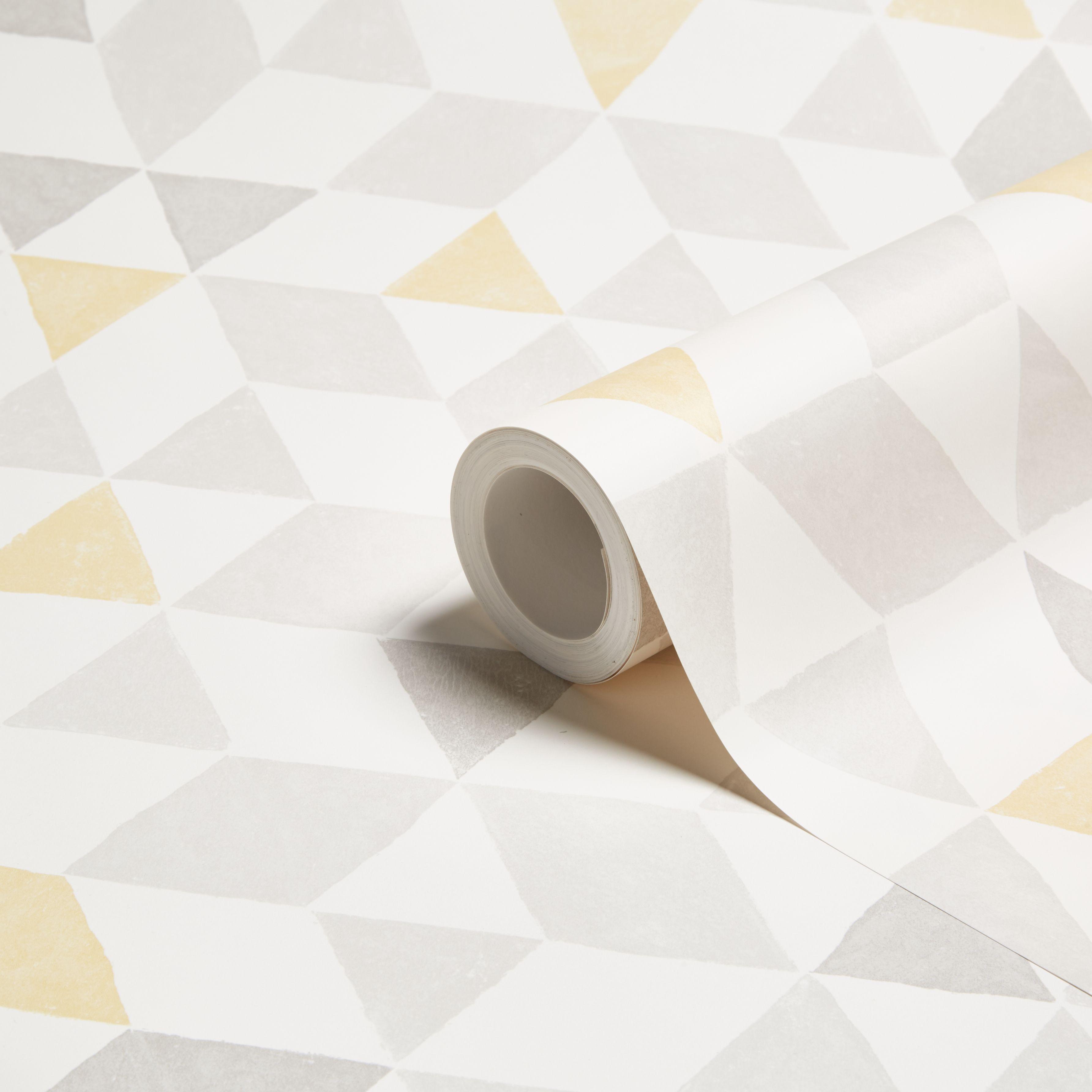 Colours Triangles Soft Lemon Geometric Wallpaper Departments Diy At B Q