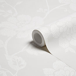Colours Tara Dot French Grey Floral Wallpaper