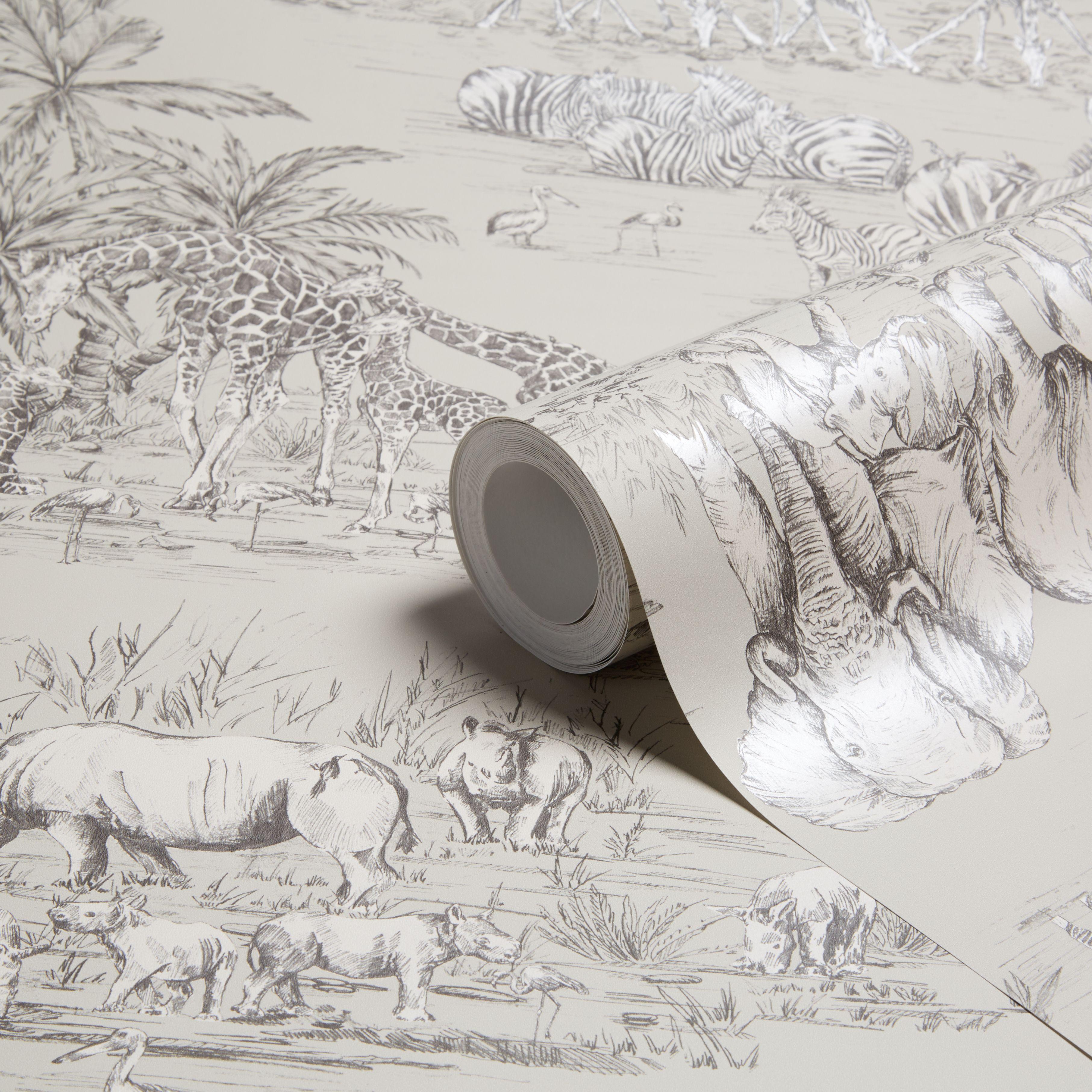 Colours Watering Hole Taupe Animal Safari Metallic Wallpaper