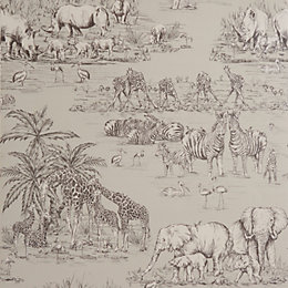 Colours Watering Hole Taupe Animal Safari Metallic Wallpaper