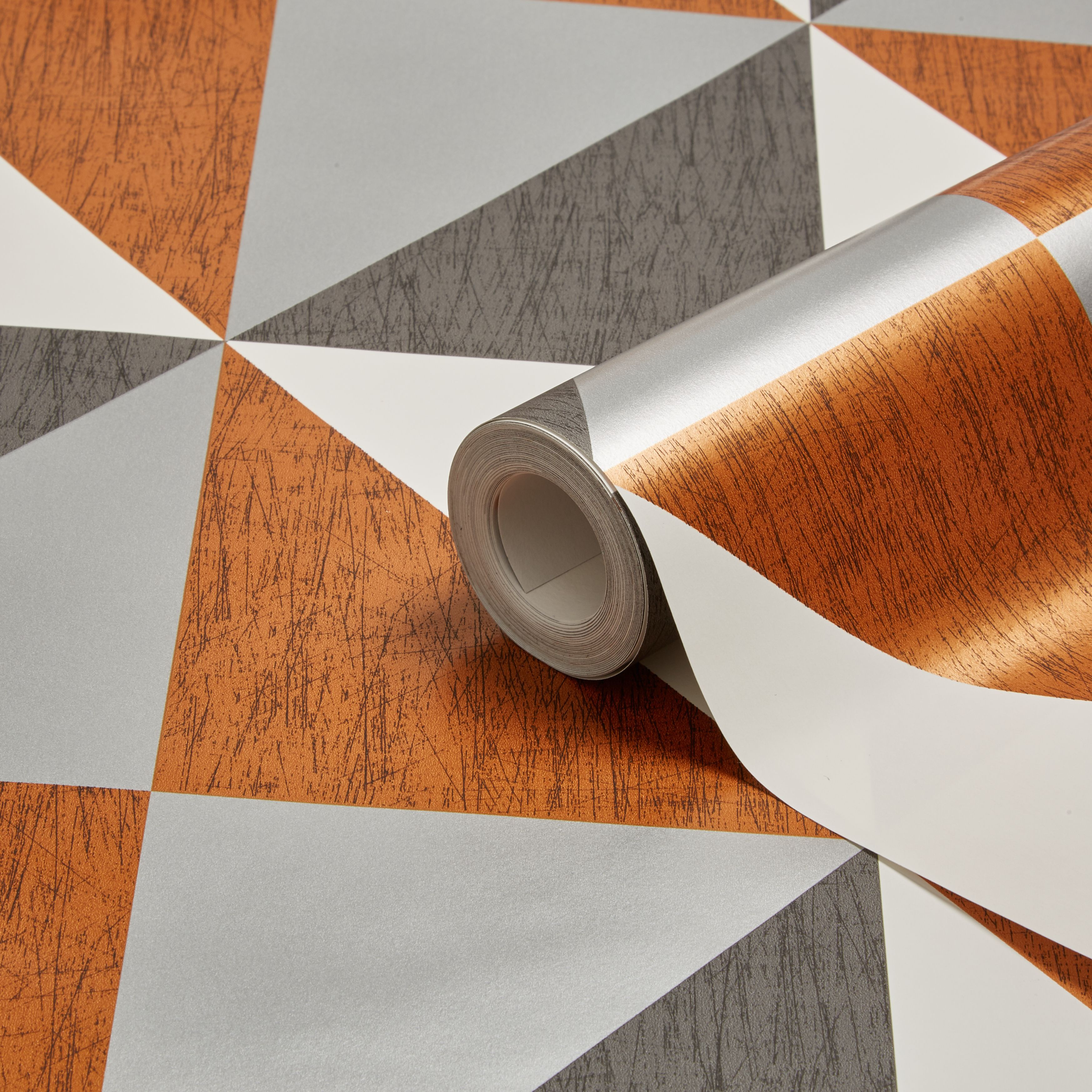Colours Mosaic Copper, Navy & Pewter Geometric Metallic Wallpaper