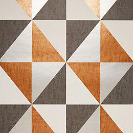 Colours Mosaic Copper, Navy & Pewter Geometric Metallic
