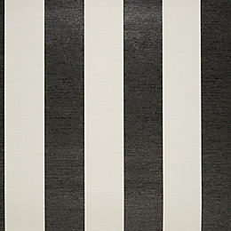 Colours Shimmer Black & White Stripe Glitter Wallpaper