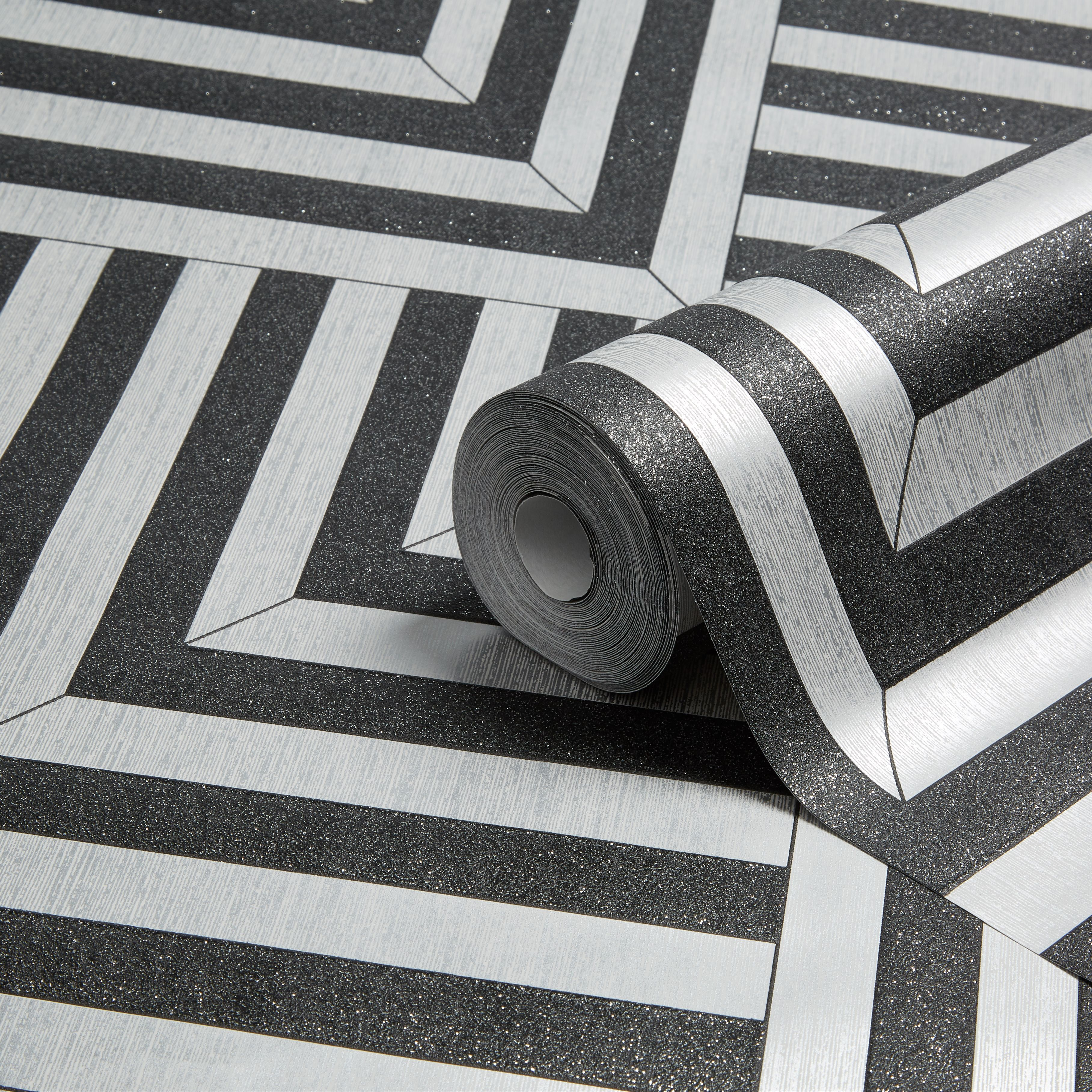 Colours Maze Black & Silver Geometric Glitter Effect Wallpaper |  Departments | DIY at B&Q