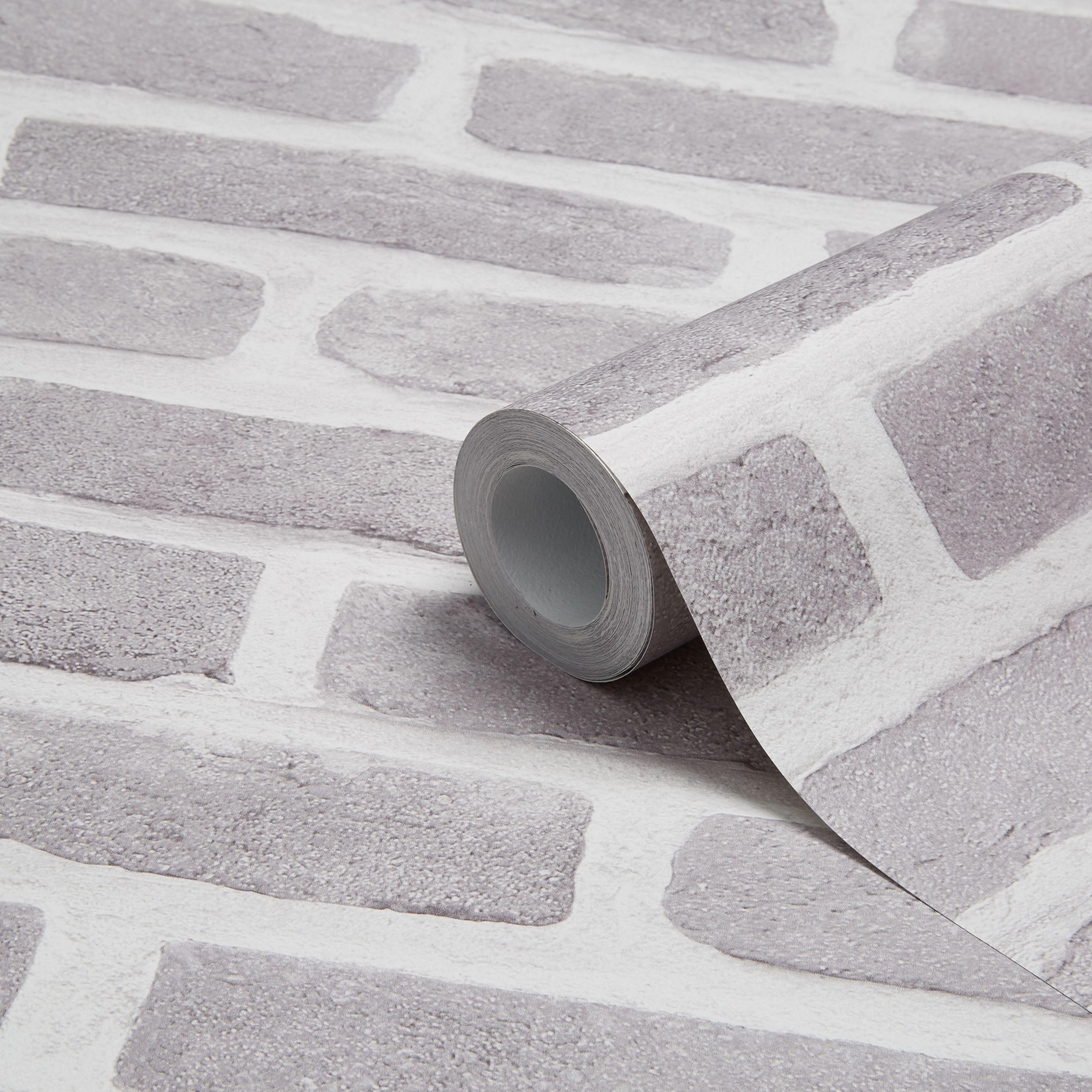 colours grey brick effect wallpaper clearance diy at b q. Black Bedroom Furniture Sets. Home Design Ideas