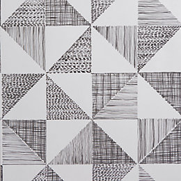 Colours Loki Black & White Geometric Wallpaper