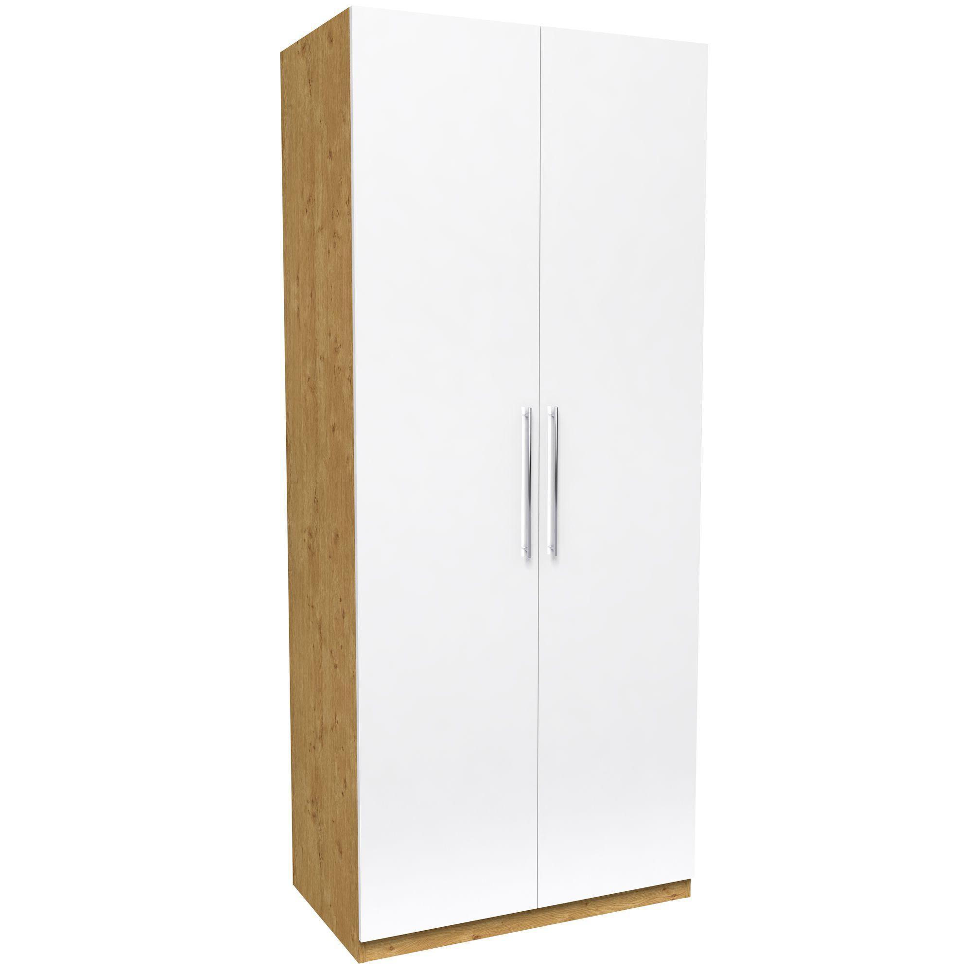 Darwin White & Oak Effect 2 Door Wardrobe (h)2350mm (w)998mm