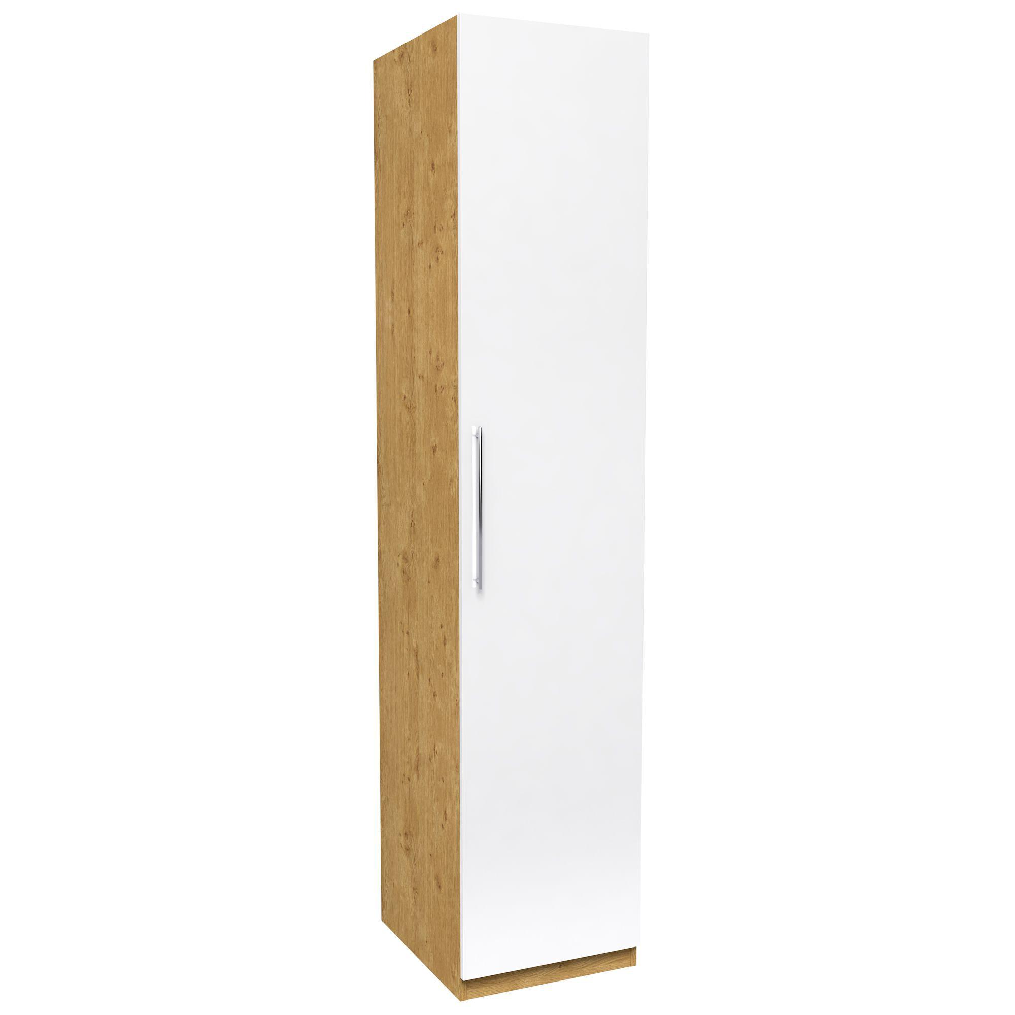 Darwin White & Oak Effect 1 Door Wardrobe (h)2350mm (w)499mm