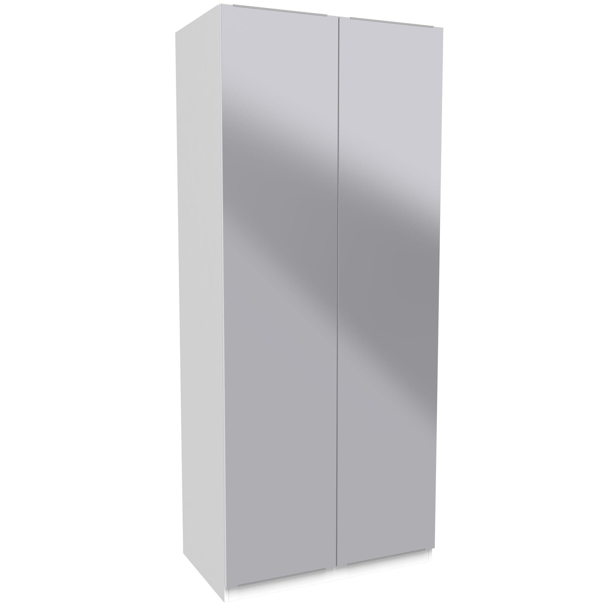 Darwin Handpicked White & Mirror Tall Double Wardrobe