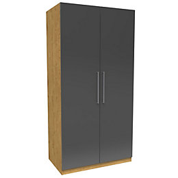 Darwin Handpicked Oak Effect & Anthracite Double Wardrobe