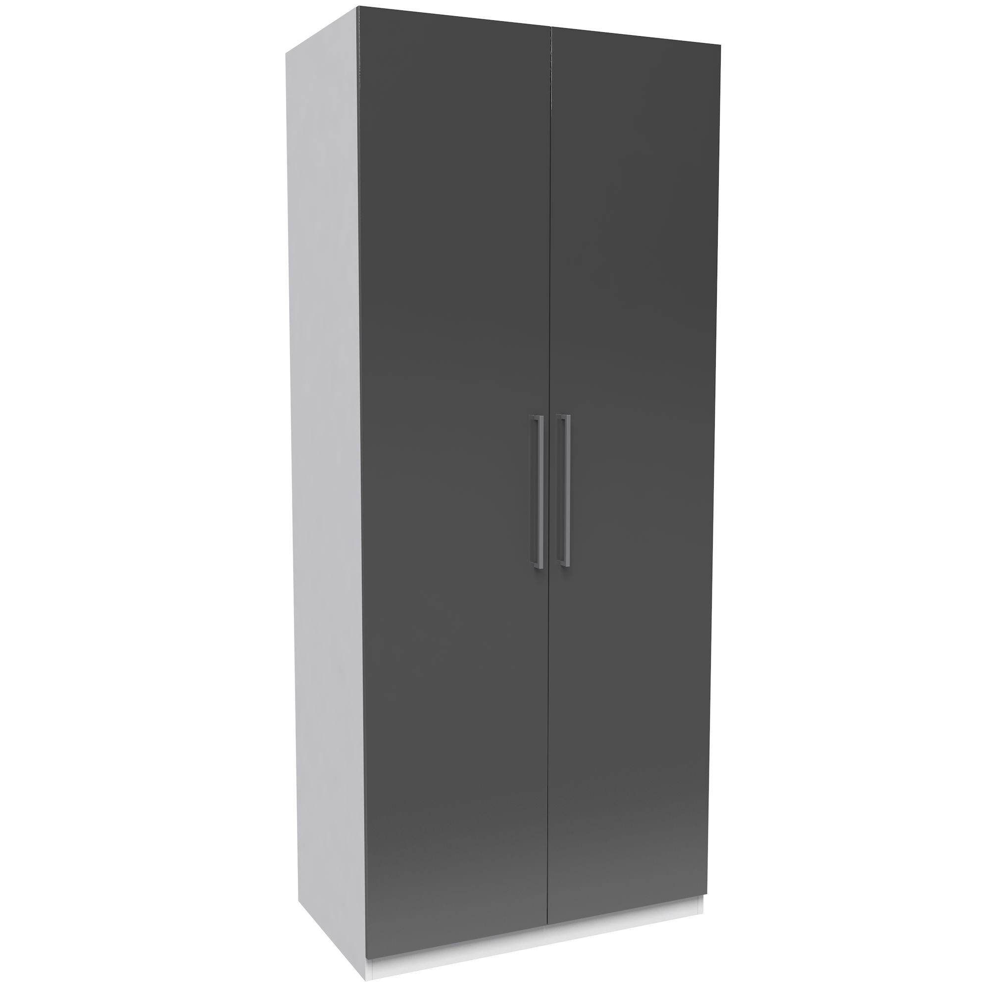 Darwin Handpicked White & Anthracite Tall Double Wardrobe