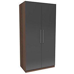 Darwin Anthracite & Walnut Effect 2 Door Wardrobe