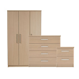 Elsey Matt Natural Triple Wardrobe 3 Piece Bedroom
