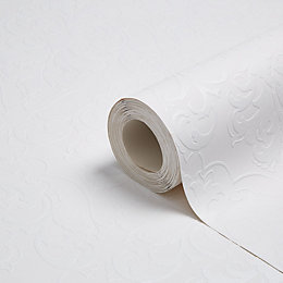 Colours White Damask Paintable Wallpaper