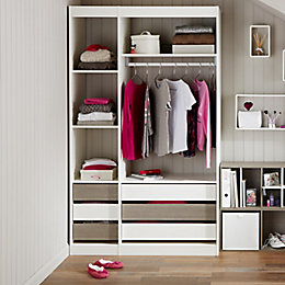 Form Perkin Oak Effect Wardrobe Storage Unit Kit