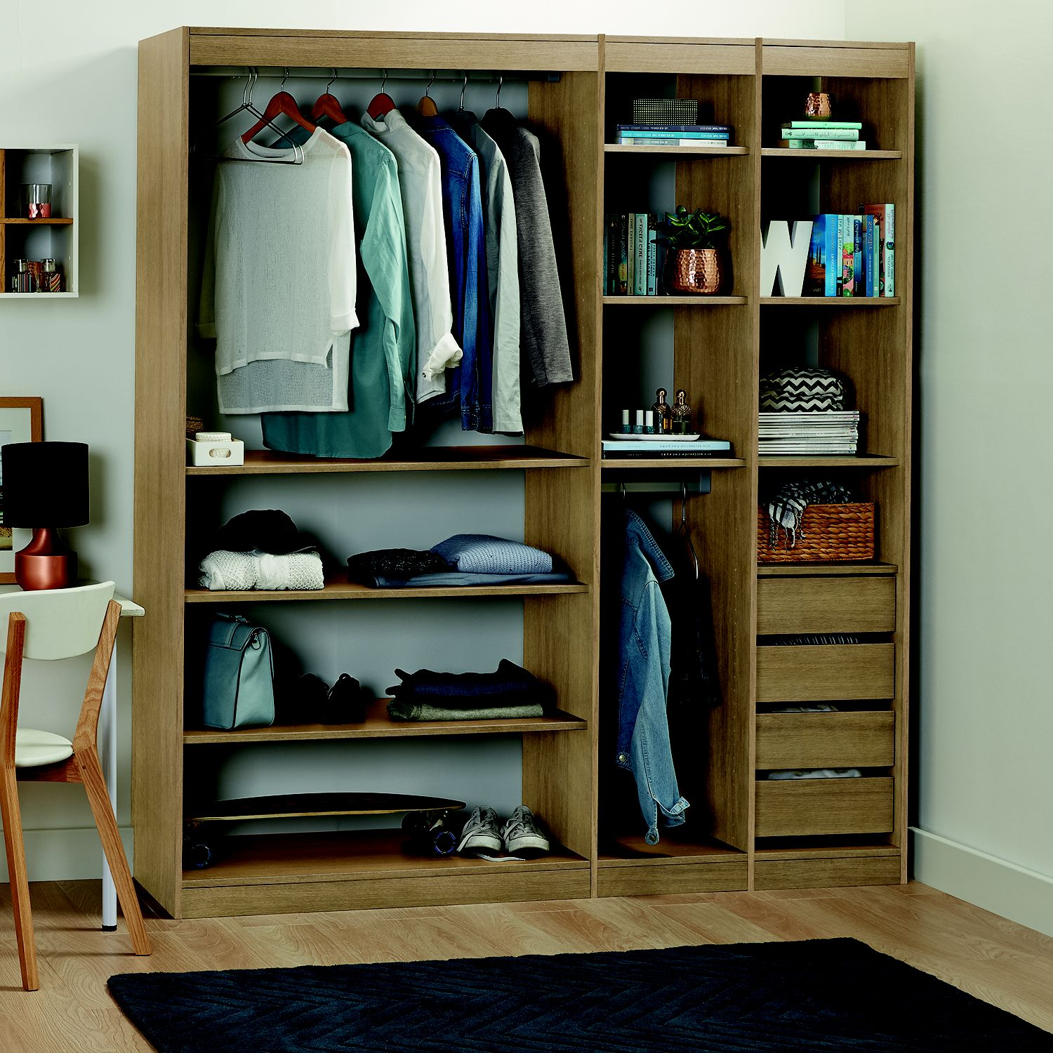 Form Perkin Oak Effect Bedroom Storage Unit Kit (H)2008mm (W)1440mm |  Departments | DIY At Bu0026Q