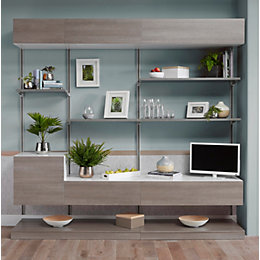 Form Oppen Grey Oak Effect Large Media Storage
