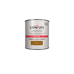 Colours Indoor Walnut Gloss Wood Varnish 250ml