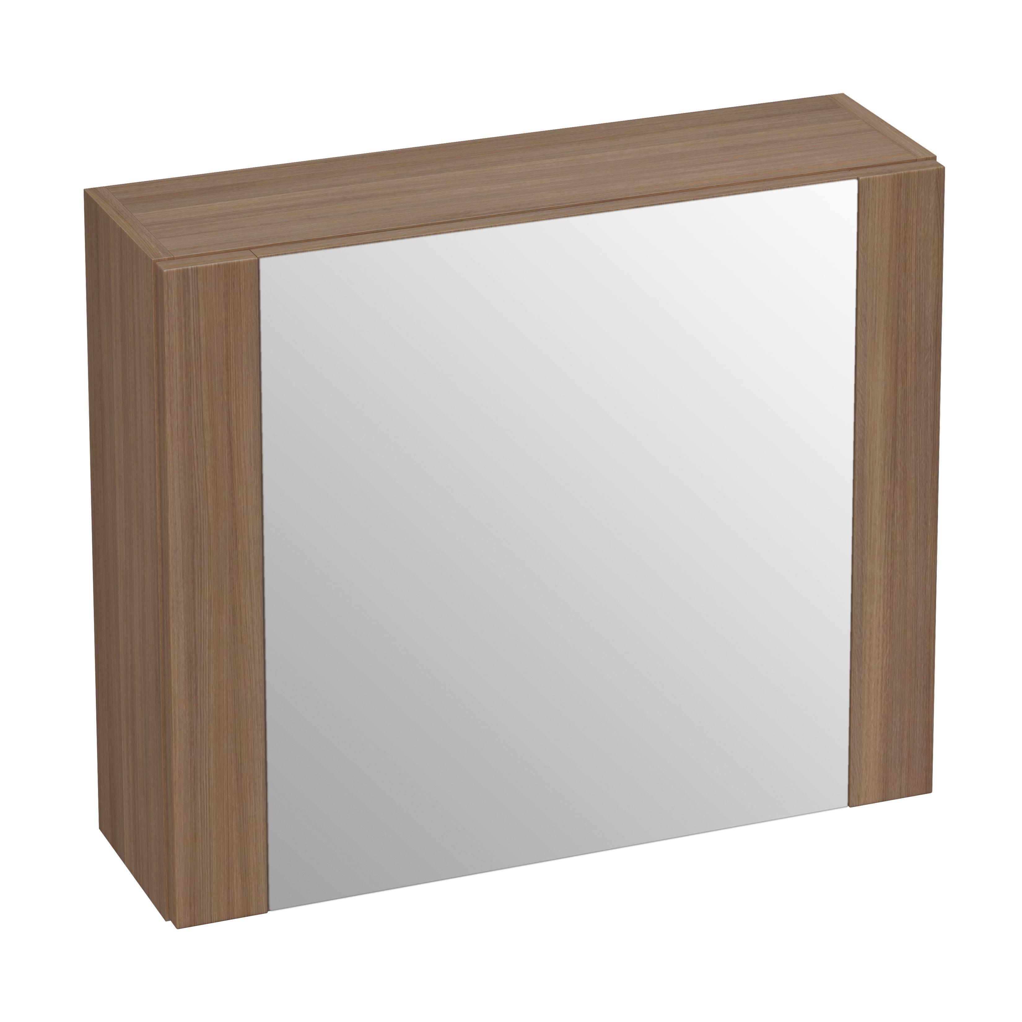 Cooke and lewis bathroom mirrors - Cooke Lewis Romana Single Door Oak Effect Medium Mirror Cabinet Departments Diy At B Q