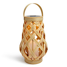 Blooma Cream Rattan Solar Powered LED Tiki Basket