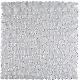 Clear Pebble PVC Non-Slip Shower Mat (L)54cm (W)54cm