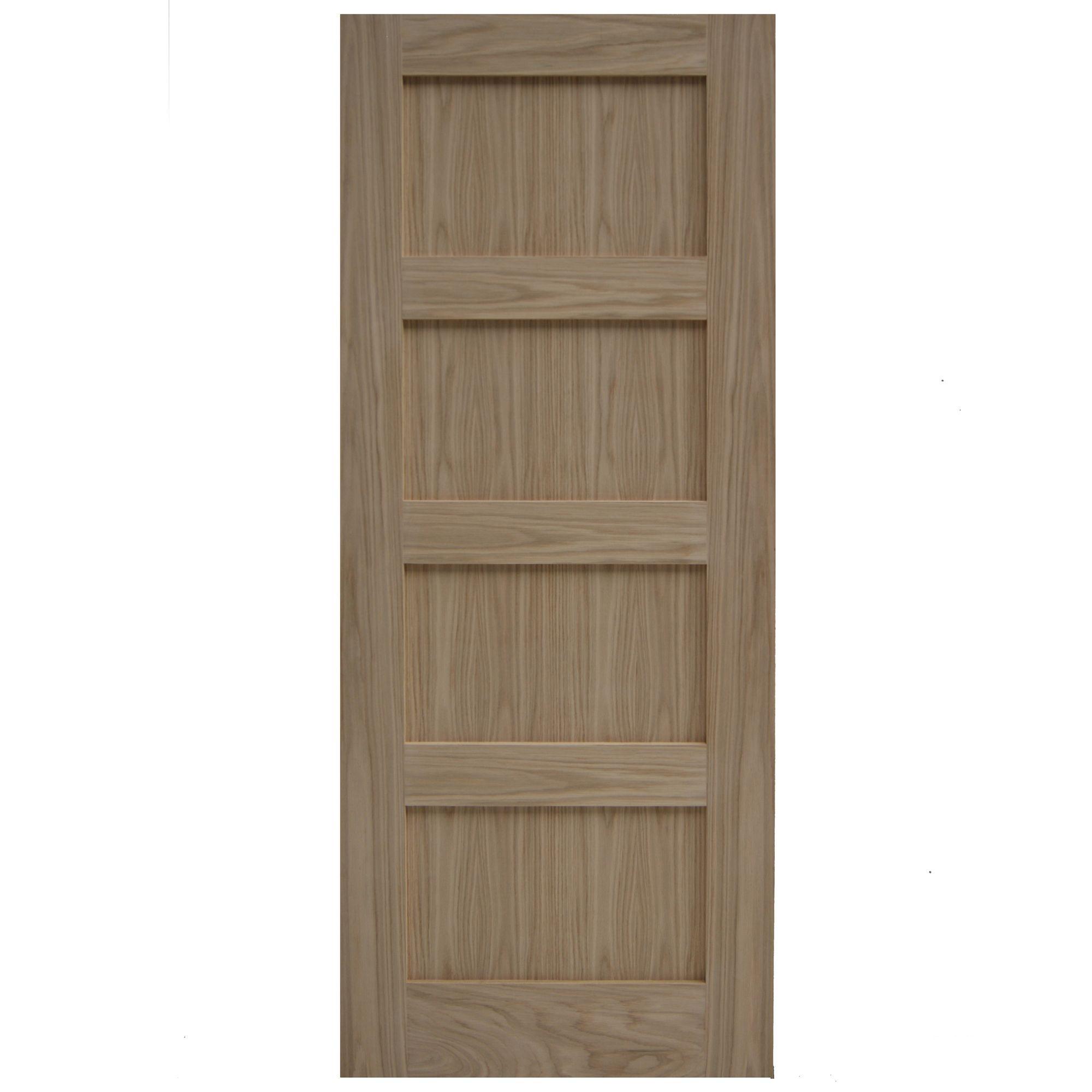 Shaker 4 panel oak veneer internal unglazed door h for Wood veneer garage doors