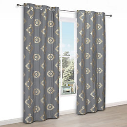 Chassidy Grey Geometric Eyelet Lined Curtains (W)167 cm