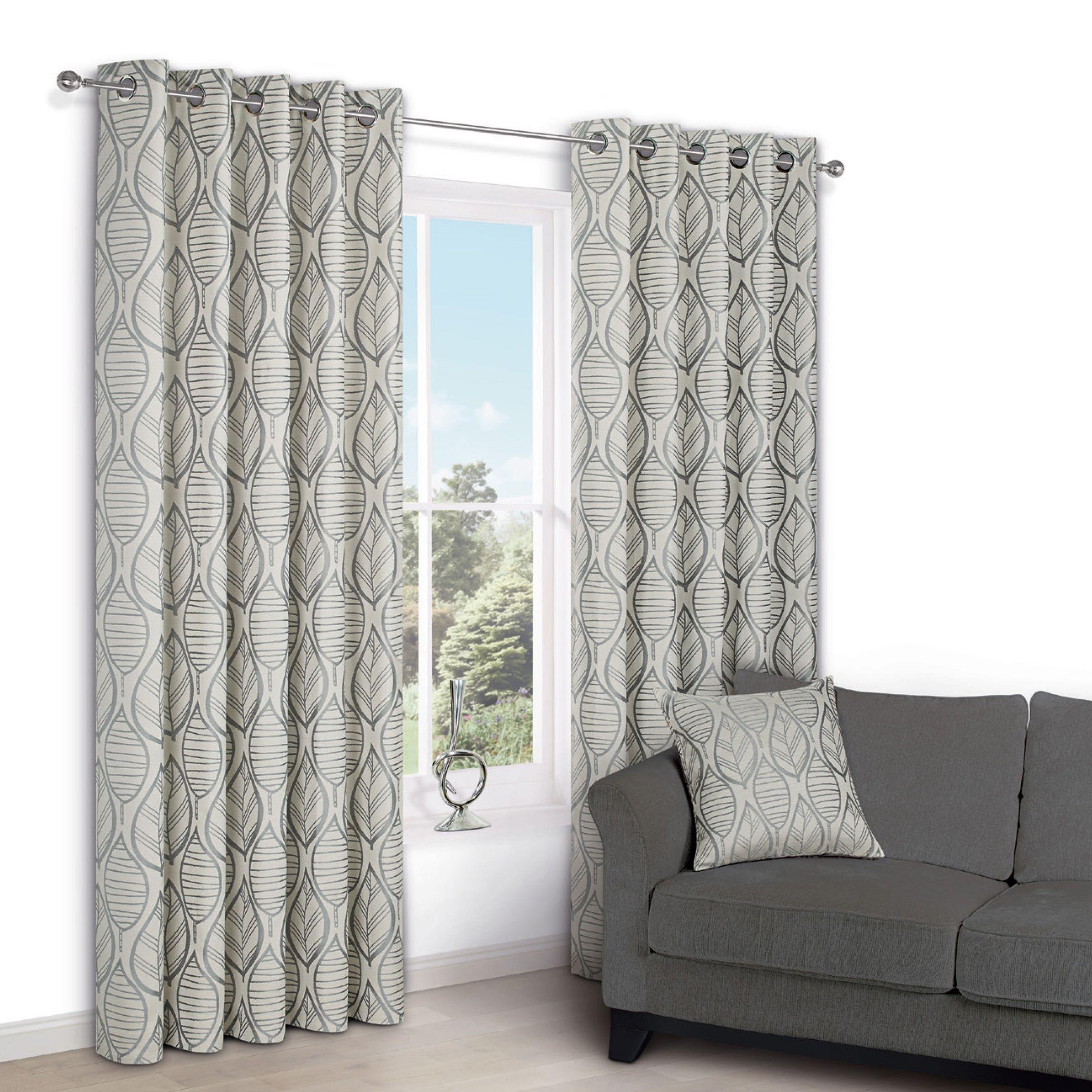 Nordic Cream Leaf Eyelet Lined Curtains W 117 Cm L 137