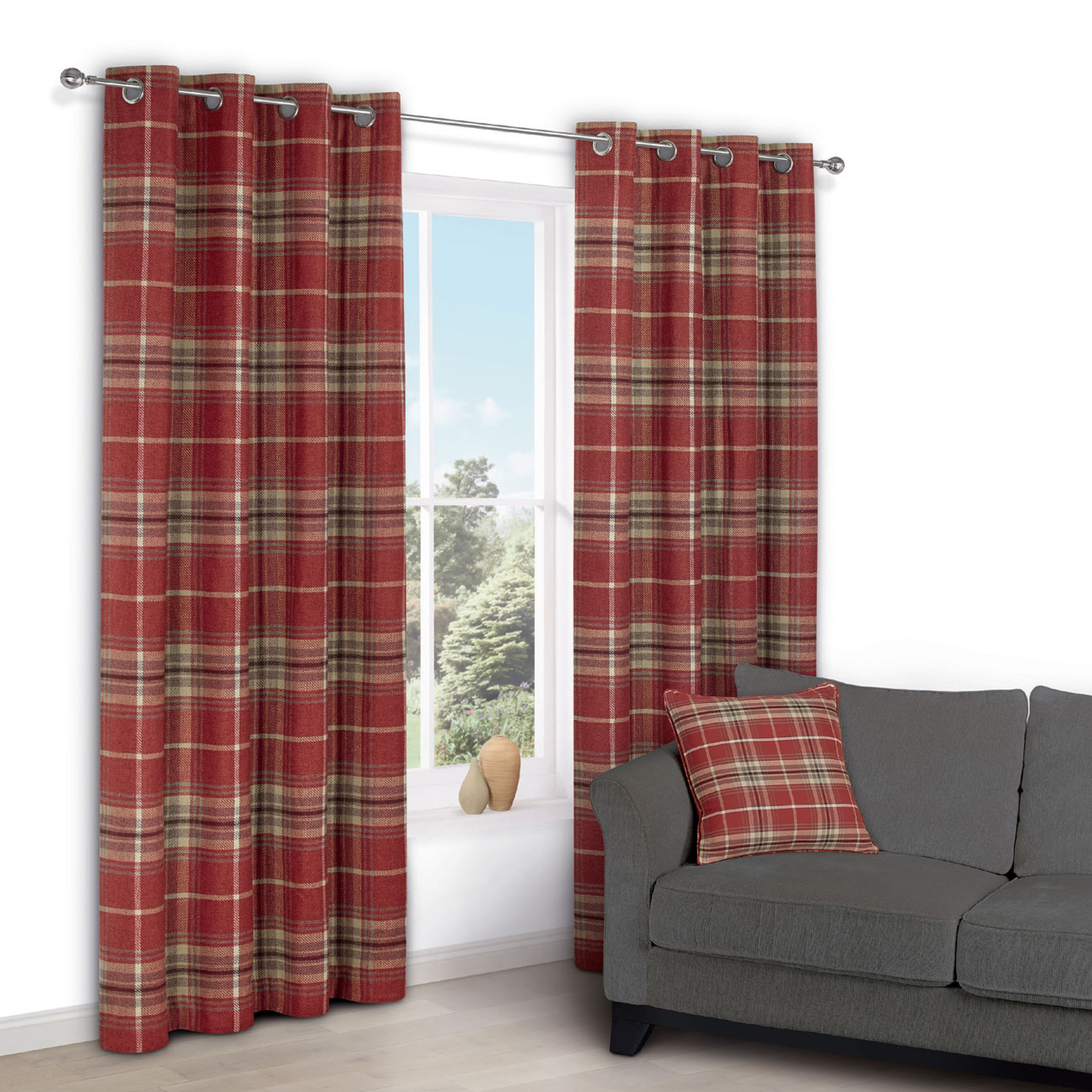 Lamego Red Check Eyelet Lined Curtains (W)167 cm (L)228 cm | Departments |  DIY at B&Q