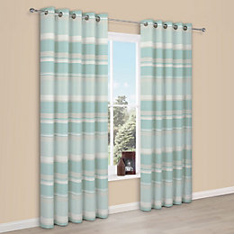 Cheyla Duck Egg Stripe Eyelet Lined Curtains (W)167