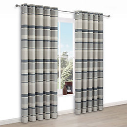 Cheyla Grey Stripe Eyelet Lined Curtains (W)167 cm