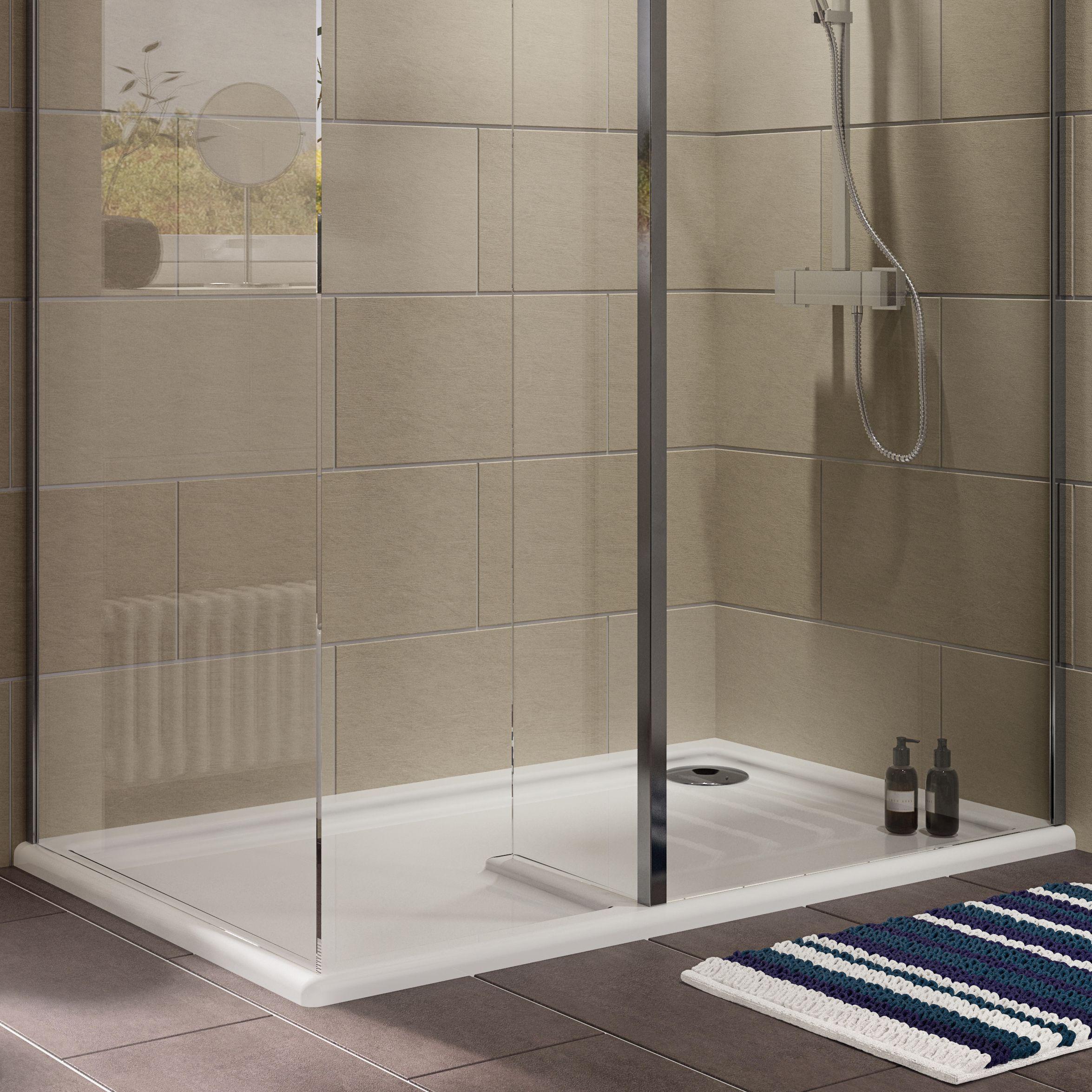 Cooke U0026 Lewis Ultra Low Profile (Lh) Rectangular Walk In Shower Tray LH  (L)1400mm (W)900mm (D)27mm | Departments | DIY At Bu0026Q