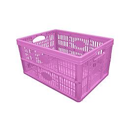 B&Q Pink 32L Plastic Folding Crate