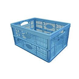 B&Q Blue 32L Plastic Folding Crate