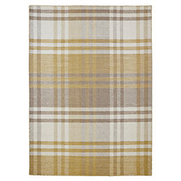 Colours Marqurite Neutral & Gold Tartan Rug (L)170cm