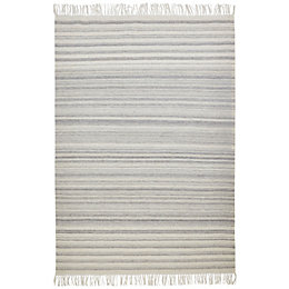 Colours Jayde Grey Stripe Rug (L)170cm (W)120cm