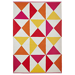 Colours Meghan Pink Triangle Rug (L)170cm (W)120cm