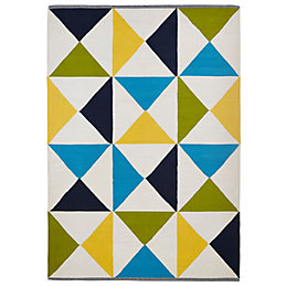 Colours Meghan Blue Triangle Rug (L)170cm (W)120cm